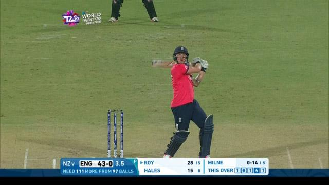 Jason Roy smashes outrageous flat bat for Six