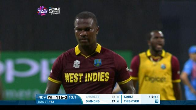Johnson Charles Wicket Fall WI V IND Video ICC WT20 2016