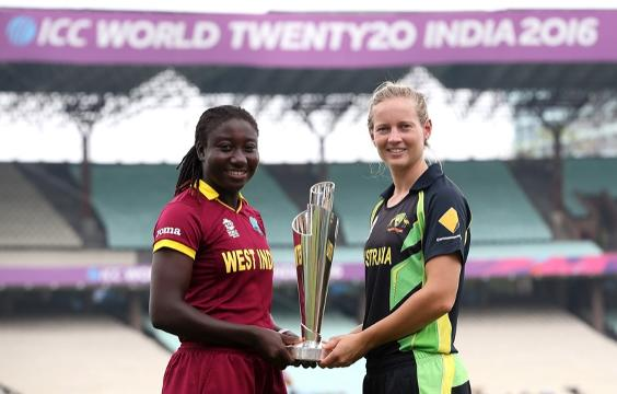 Stafanie Taylor and Meg Lanning with the ICC WWT20 trophy