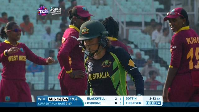 Erin Osborne Wicket Fall AUS V WI Video ICC Womens WT20 2016