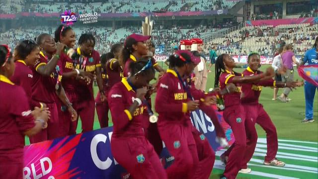 West Indies celebrate #WT20 win with dance