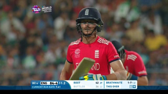 Jos Buttler Wicket Fall ENG V WI Video ICC WT20 2016