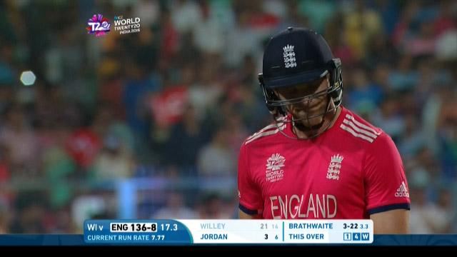 David Willey Wicket Fall ENG V WI Video ICC WT20 2016