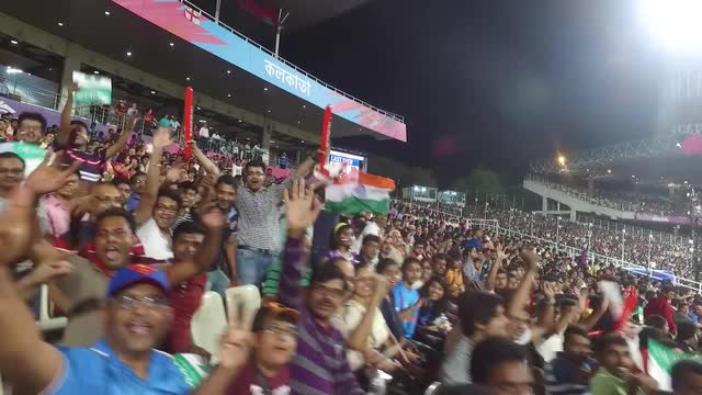 The crowd at a packed Eden Gardens for the World T20 final