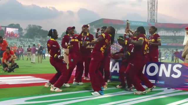 WI Women celebrate to Dwayne Bravo's