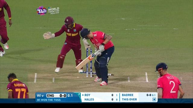 England's wickets in the ICC World T20 final against West Indies