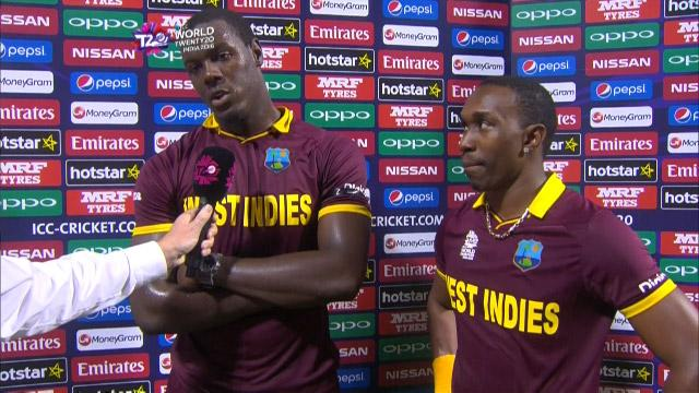 Brathwaite and Bravo mid-match interview