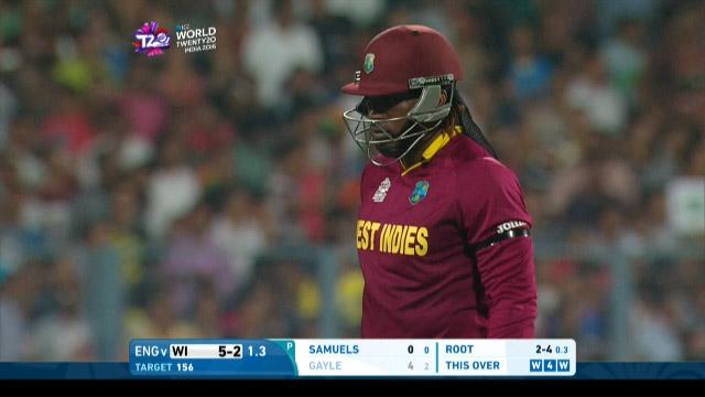 Chris Gayle tries to clatter Root but is caught by Stokes