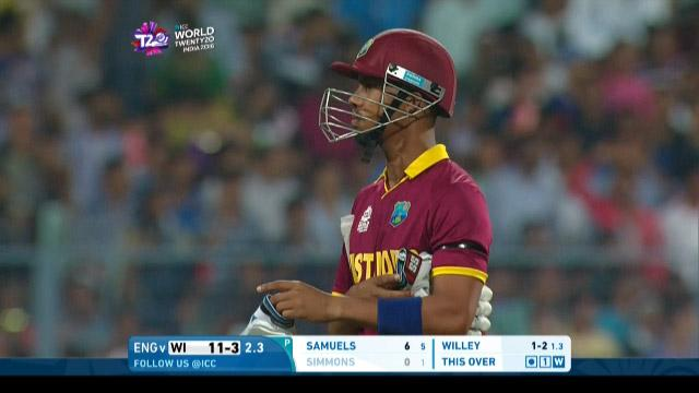 Lendl Simmons Wicket Fall WI V ENG Video ICC WT20 2016