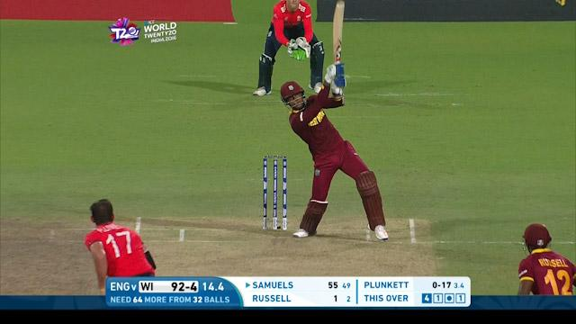 Samuels smashes back-to-back Sixes