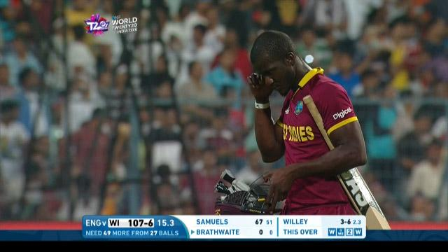 Darren Sammy Wicket Fall WI V ENG Video ICC WT20 2016