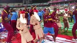 Stewardesses dance with Dwayne Bravo