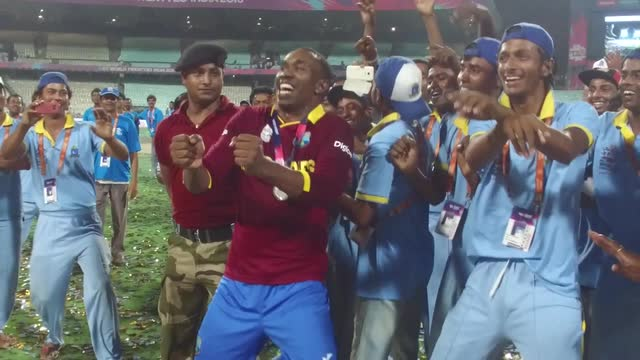 Darren Sammy moments after West Indies win