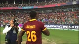 Carlos Brathwaite throws his gloves into crowd!