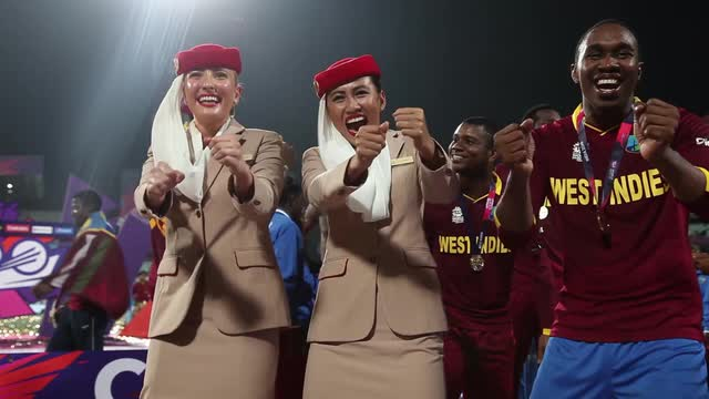 West Indies and Emirates Cabin Crew Champion Dance at WT20 Final