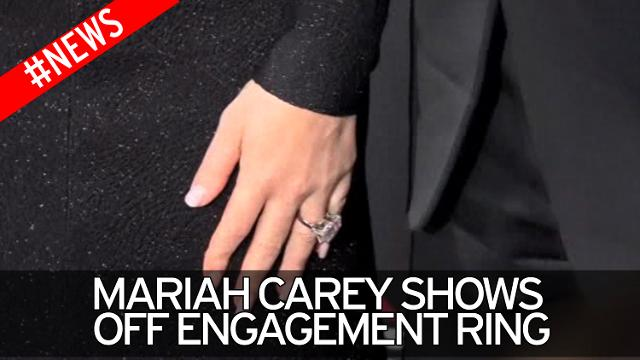 Mariah Carey shows off engagement ring