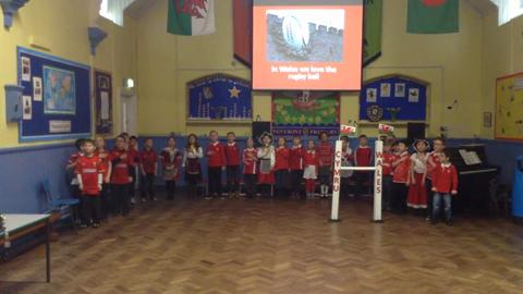 Penybont Primary School Welsh rugby song