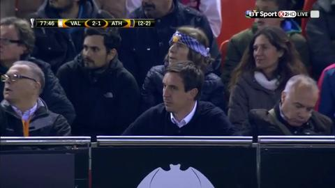 Watch: Neville sent to the stands as Valencia crash out of Europa league
