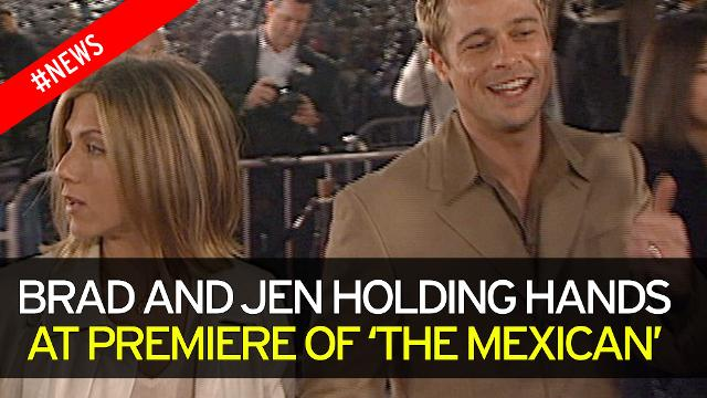 Brad Pitt and Jennifer Aniston hold hands on red carpet at premiere of 'The Mexican'