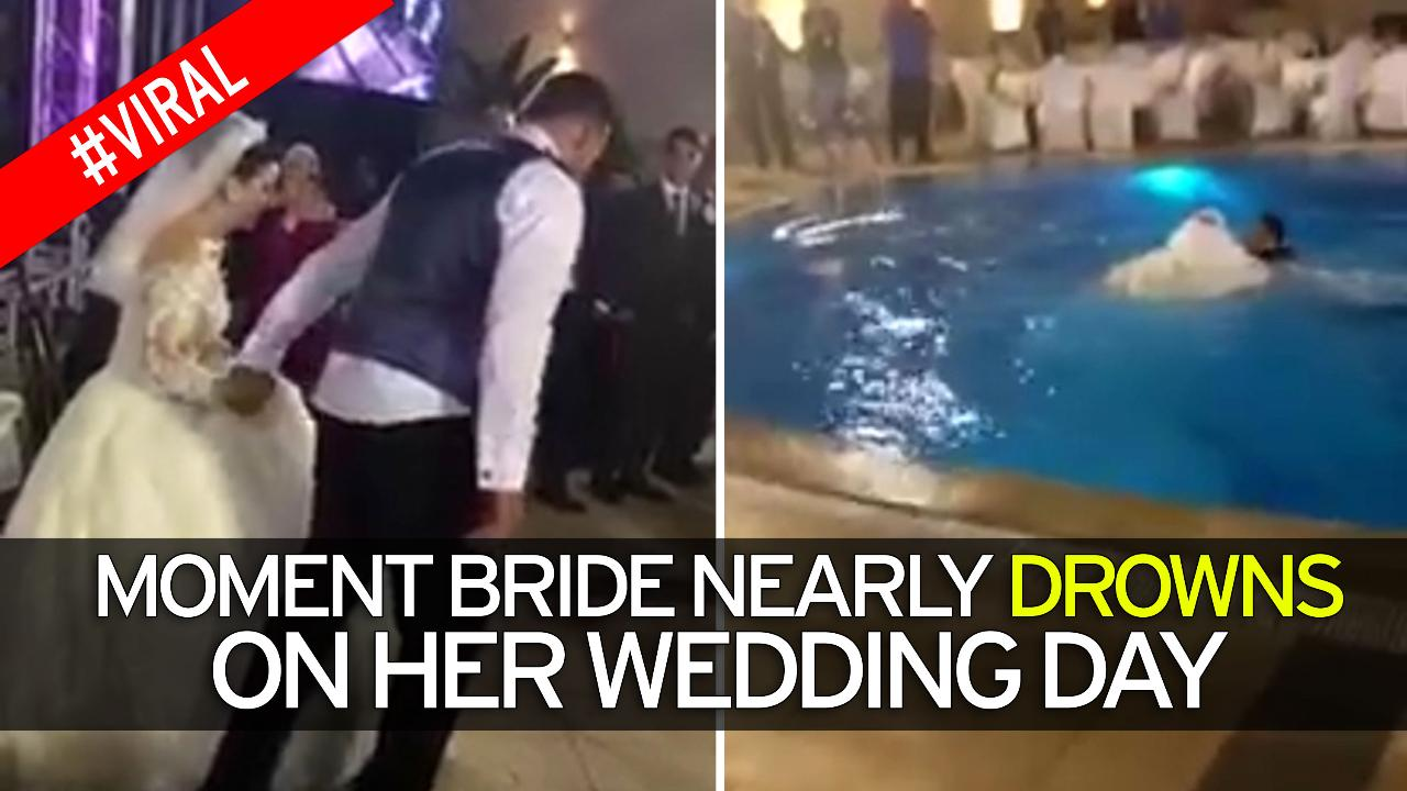 Bride nearly DROWNS in wedding day swimming pool incident
