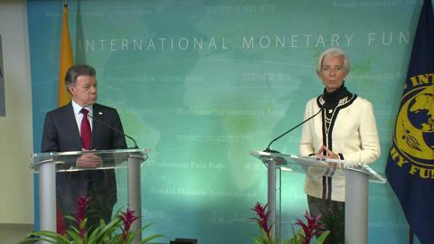 IMF's Christine Lagarde Welcomes Colombia's President Santos