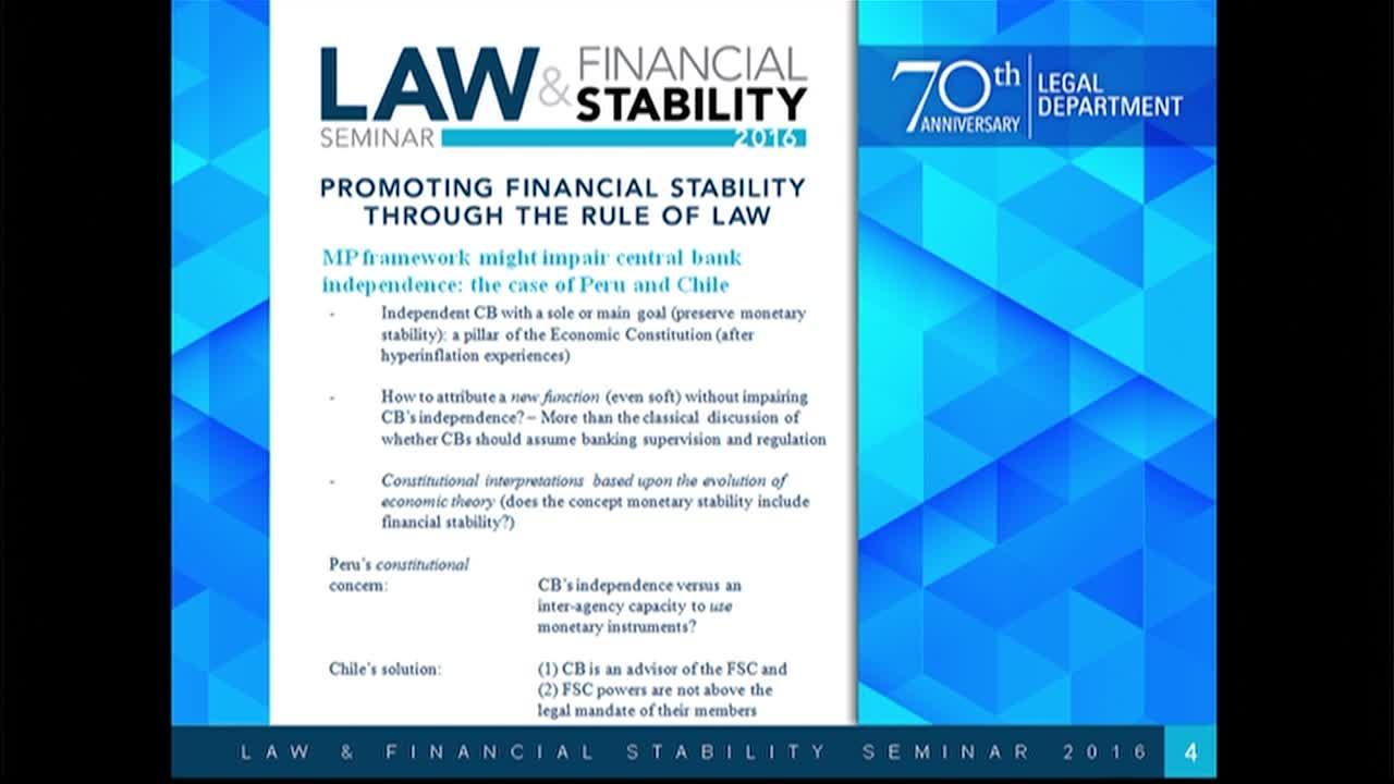 Law & Financial Stability Seminar, Session 5: Central Bank functions and the growing importance of macro-prudential policy. Presentation by Manuel Monteagudo