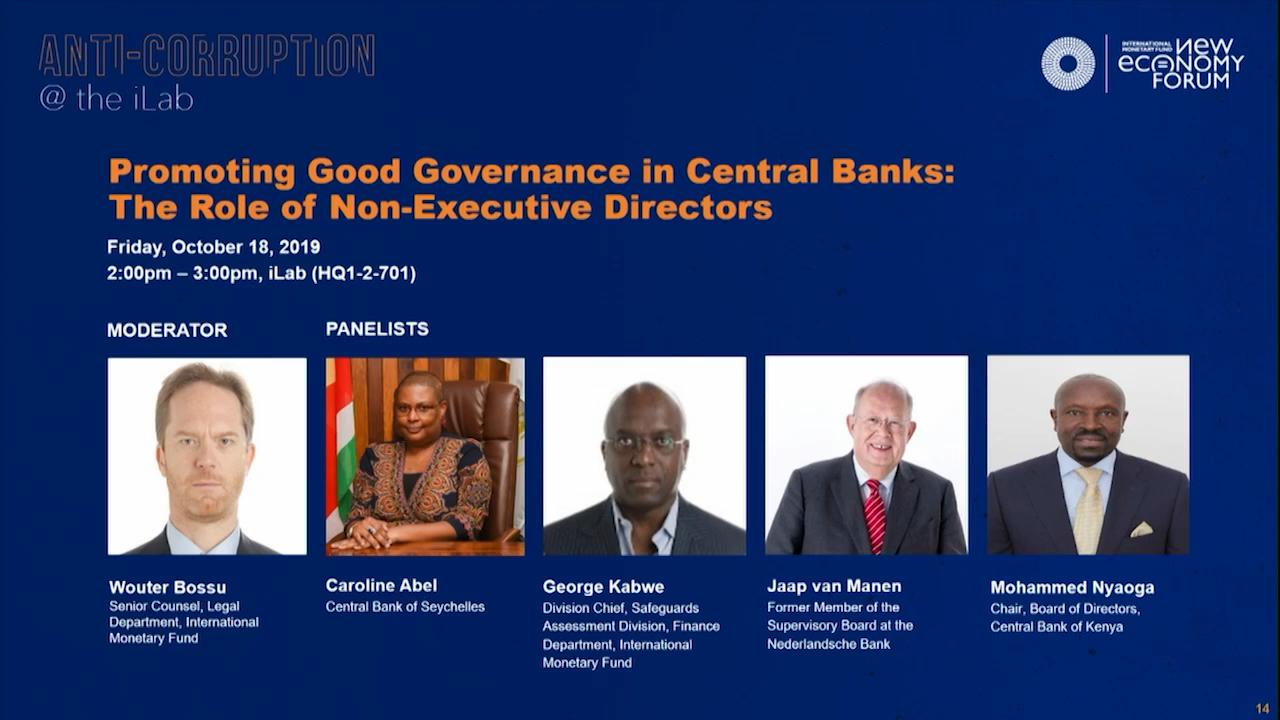 Corruption Challenge: Promoting Good Governance in Central Banks: The Role of Non-Executive Directors