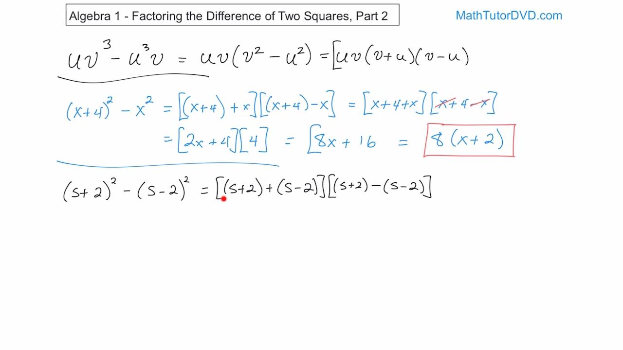 Algebra 1 Course Unit 5 Lesson 12 Factoring The Difference Of