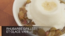 Rhubarbe grille et glace vanille