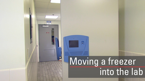 Although specifications vary by models, you can follow the same general procedure to move your freezer through standard doorways and into your lab.