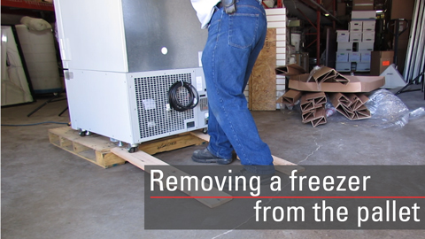 Learn how to safely remove Thermo Scientific -80C freezers from shipping pallets.