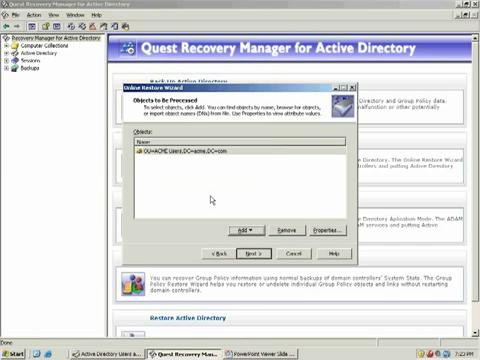 Recovery Manager for Active Directory - Restoring Active Directory Objects