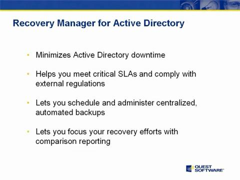 Recovery Manager for Active Directory - Introduction