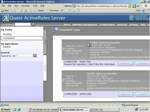 ActiveRoles Server Management Shell for Active Directory - Approval Workflow
