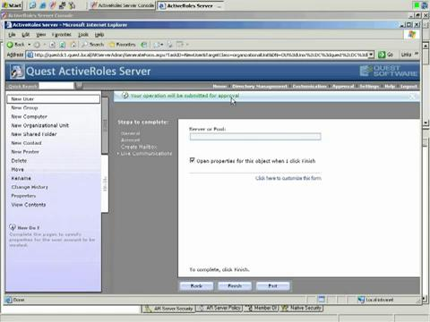 ActiveRoles Server - New User Creation and Approval