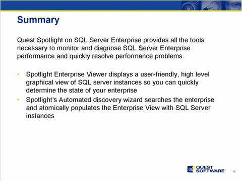 Spotlight on SQL Server Enterprise - Summary