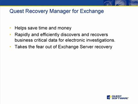 Recovery Manager for Exchange - Summary