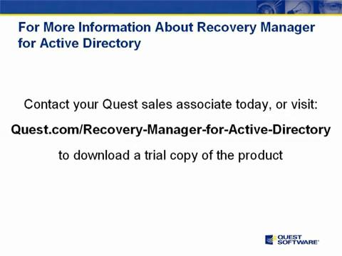 Recovery Manager for Active Directory - Summary