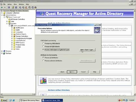 Recovery Manager for Active Directory - Rolling Back Active Directory Attributes