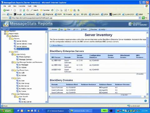 MessageStats - BlackBerry Enterprise Server Reporting