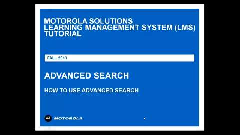 LMS Tutorial Advanced Search
