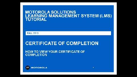 LMS Tutorial Certificate of Completion