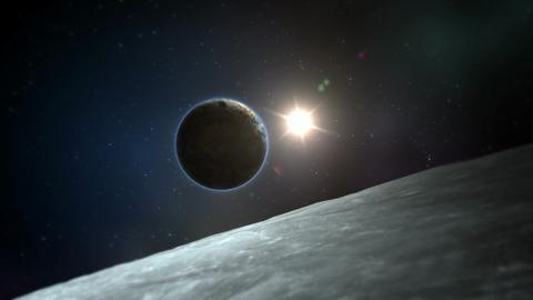Earth Curve With Moon And Sun In Background