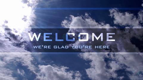 Welcome Banner Blue Clouds